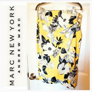 AndrewMarc wrap yellow floral midi pencil skirt